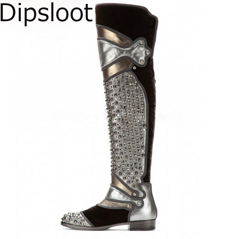 Hot Euro Women Winter Metal Rivets Crystal Patchwork Over Knee Thigh Boots  Flats Punk Rock Style 687a0e1599fa