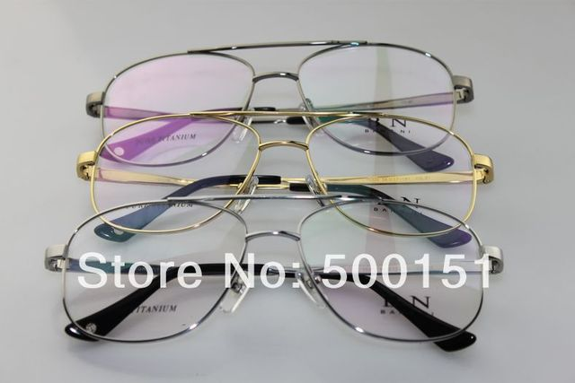 5cda5d4620 Fill prescription Various Lens BN Pure Titanium aviatoor metal full flexible  double bridge   temple optical