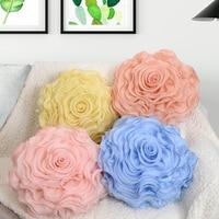 40*40cm Three dimensional rose flower round yarn cushion cover sofa wedding decoration pillow case waist pillow cover