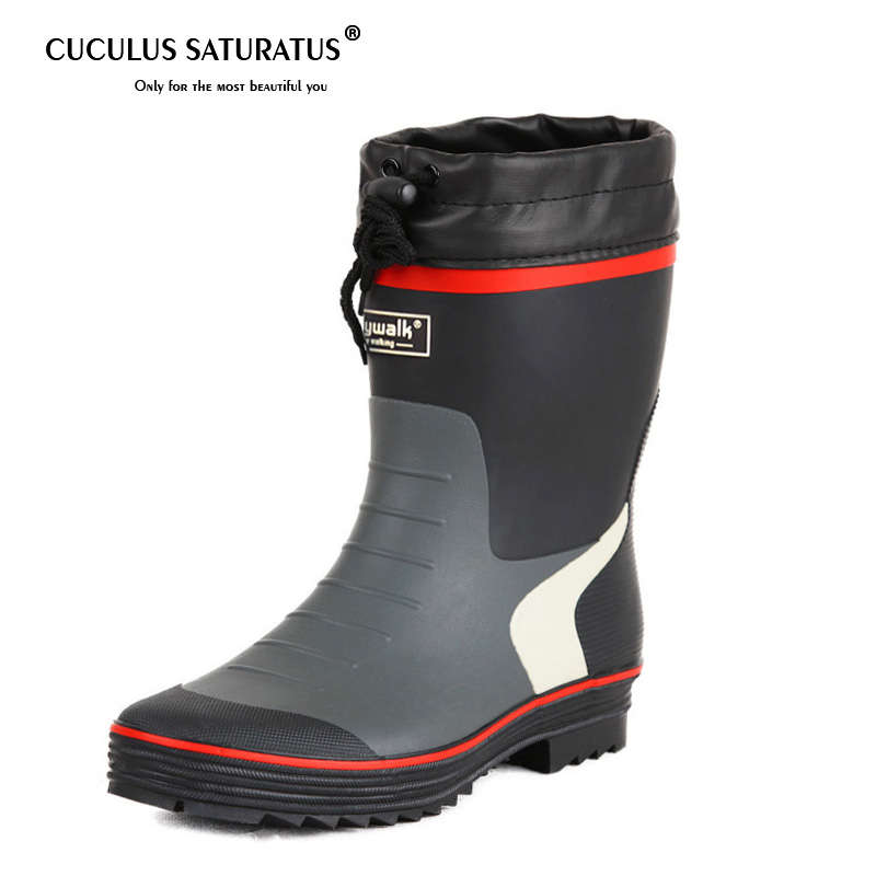 Cuculus 2019 Man Rain boots heels shoes man rain shoes height increased wedges shoes high top