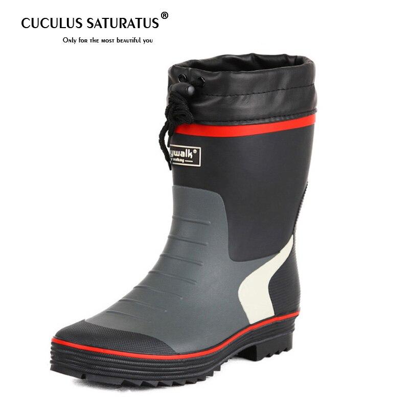 Cuculus/2019 мужские резиновые сапоги, обувь на каблуке, Мужская обувь для дождя, обувь на танкетке, увеличивающая рост, высокие модные сапоги, сме...