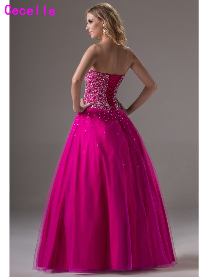 6ae06fcbf8da 2019 Real Glitter Long Ball Gown Prom Dresses For Senior Sweetheart Corset  Beaded Crystals Tulle Princess Prom Gowns Formal -in Prom Dresses from  Weddings ...