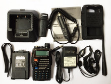 New Black BaoFeng UV-5RB Walkie Talkie+car charger cable+soft case free shipping