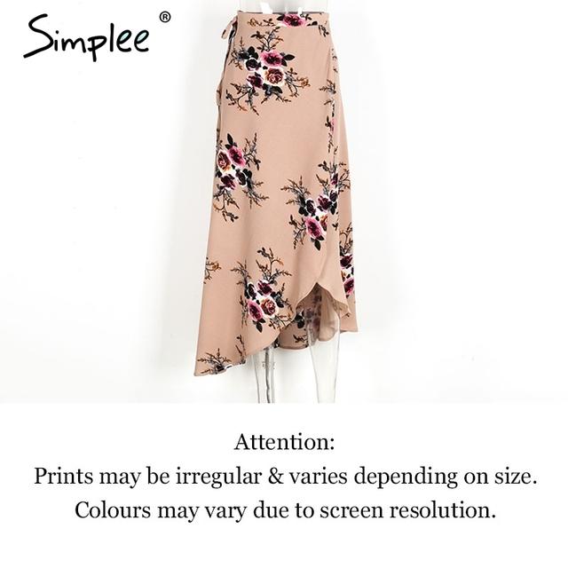 Simplee Vintage floral print long skirts women Summer elegant beach maxi skirt Boho high waist asymmetrical skirt