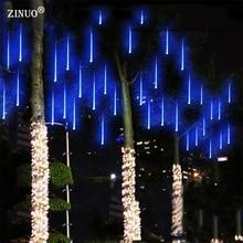 Zinuo Multi-Color 30 см метеорный поток Дождь Трубы AC100-240V светодиодные фары рождественские Свадебная вечеринка сад Xmas свет шнура Открытый