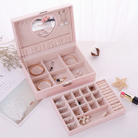 Fashion Cosmetic Box Jewelry Box Necklace Ring Storage Case Organizer Display with Mirrow and Lock