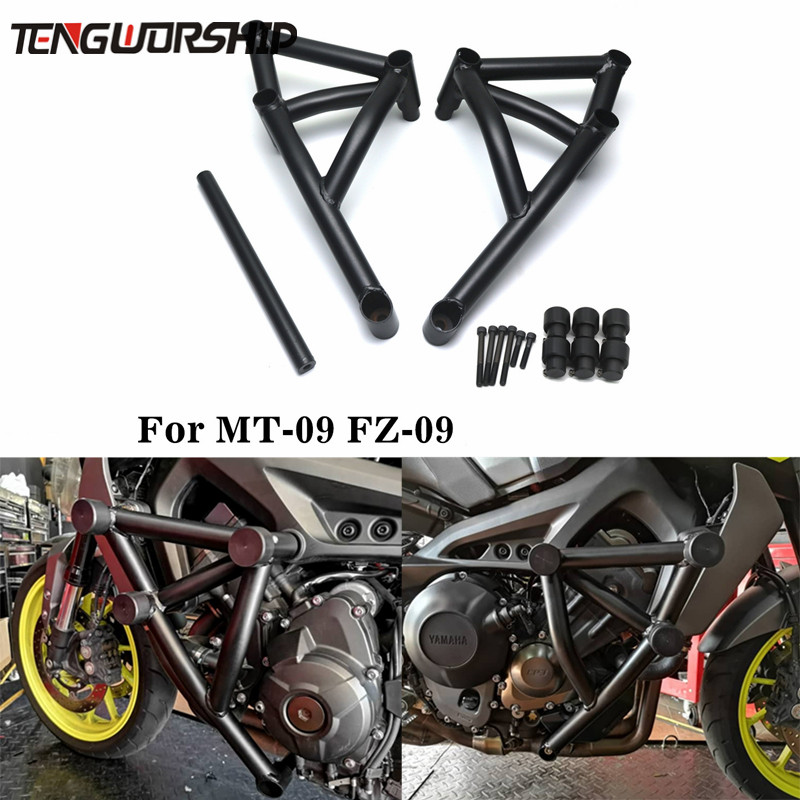 Black/White Stunt Cage Engine Guard Crash bar for Yamaha MT 09 FZ Tracer MT-09 FZ-09 Motorcycle Bar Frame