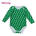 Romper Do Bebê verde para St. Patrick's Day Presente para 0-dois anos Festival Projeto Queda Macacão com Branco Polka Dot Bonito R135L