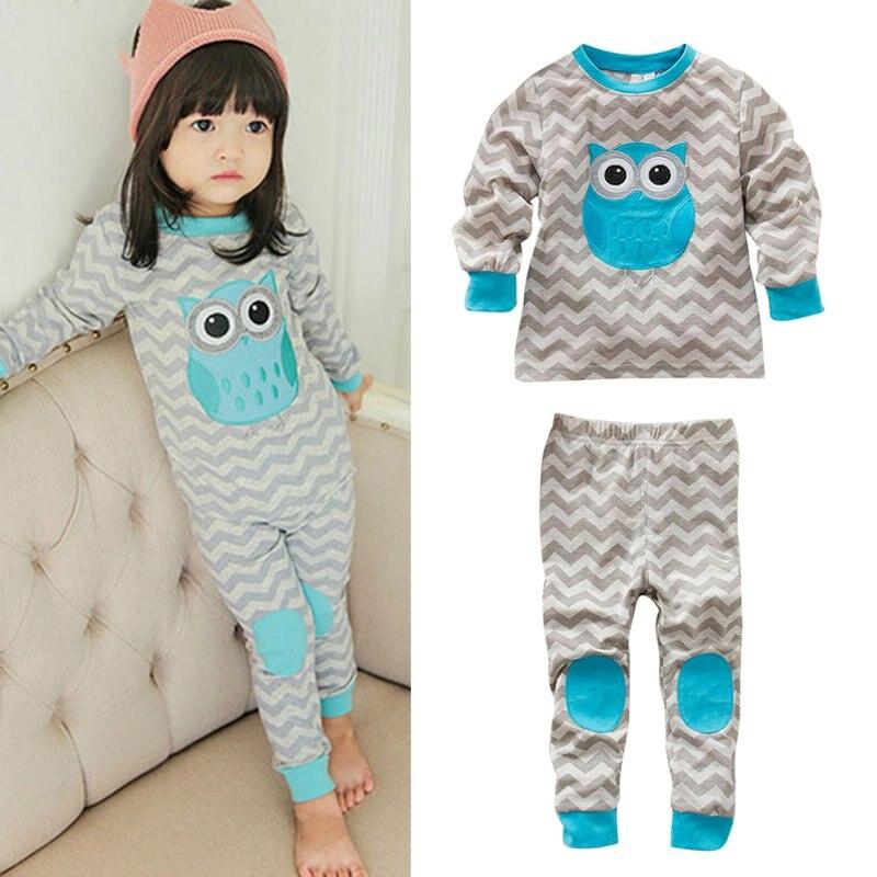 ③Bebé niños algodón onda gris manga larga búho patrón Top + ...