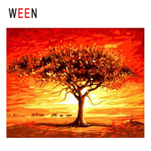 WEEN Dusk Wilderness Diy Painting By Numbers Abstract Withered Tree Oil On Canvas Cuadros Decoracion Acrylic Wall Art