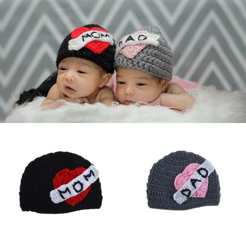 Nuevo amor Mamá y Papá sombreros para bebé material de algodón ...