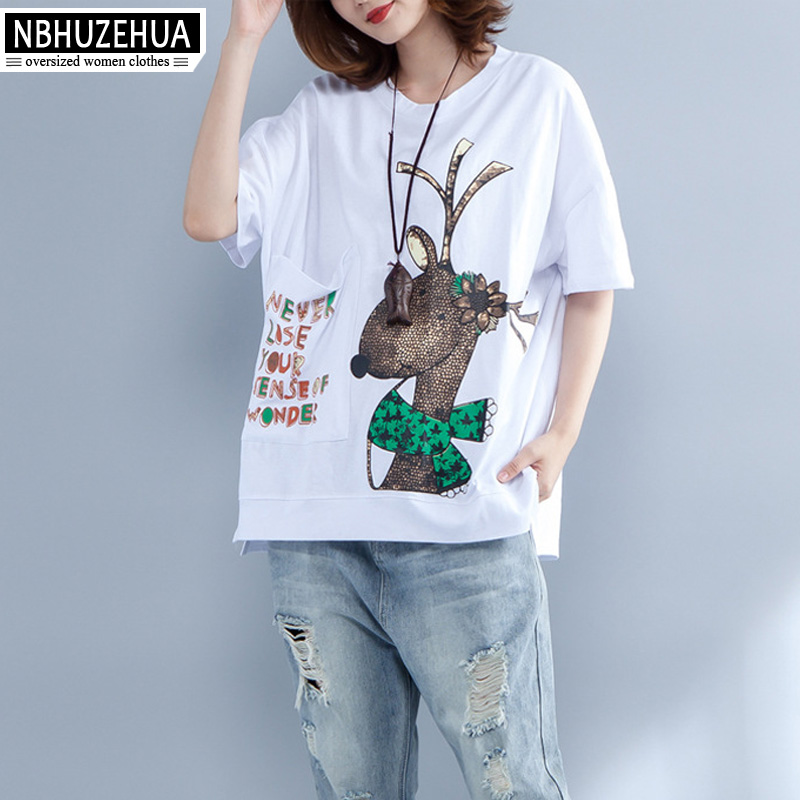 3999f3fc88 Detail Feedback Questions about NBHUZEHUA 7G787 Cotton Linen Women T Shirt  Kawaii Deer Print Korean T Shirt Woman White Black Top Big Size Tops Tees  4XL 5XL ...