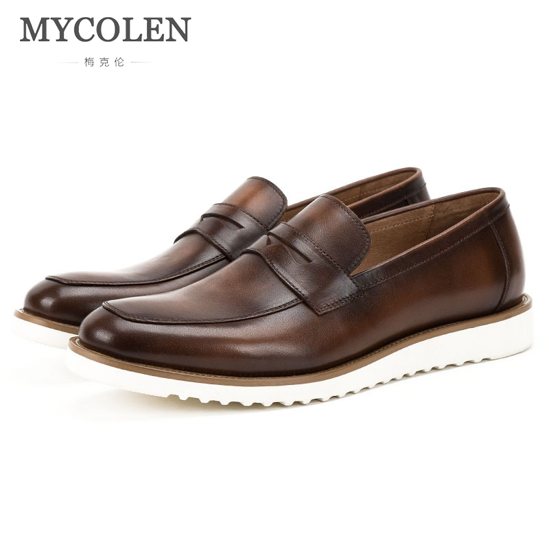 MYCOLEN Genuine Leather Shoes Men Brand Footwear Fashion Men'S Casual Shoes Male High Quality Cowhide Loafers Sepatu Pria mycolen 2018 new summer breathable men casual shoes slip on male fashion footwear height increasing sneakers sepatu casual pria