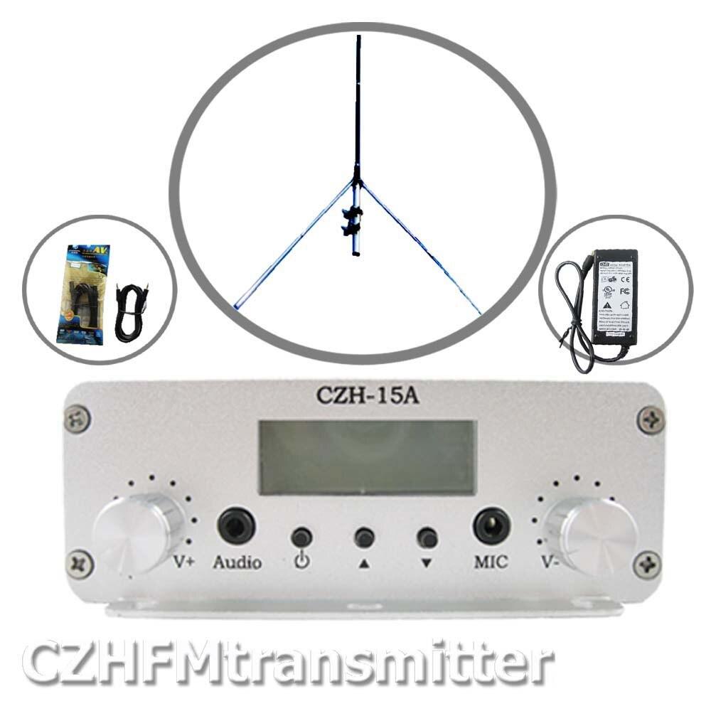 CZE 15A 15W stereo PLL FM transmitter broadcaster GP antenna power KIT