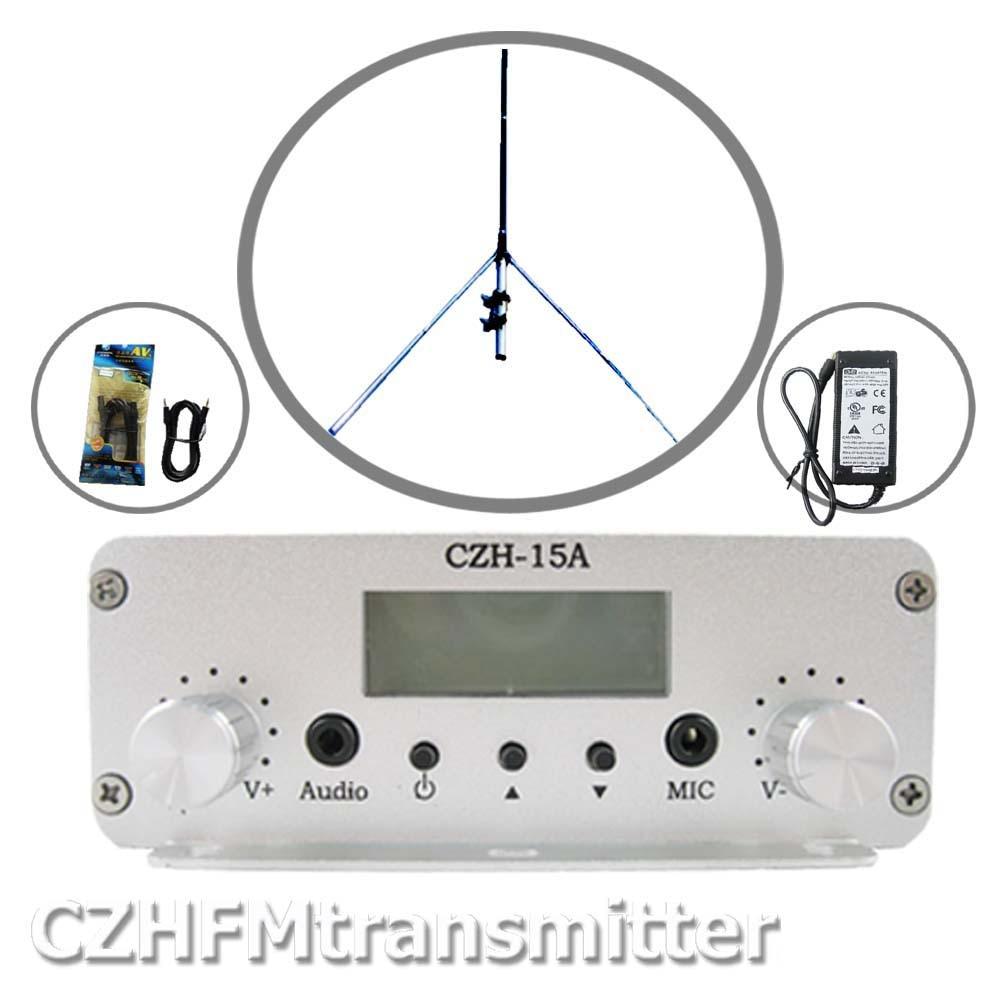 CZE-15A 15W 스테레오 PLL FM 송신기 방송사 GP 안테나 전원 KIT