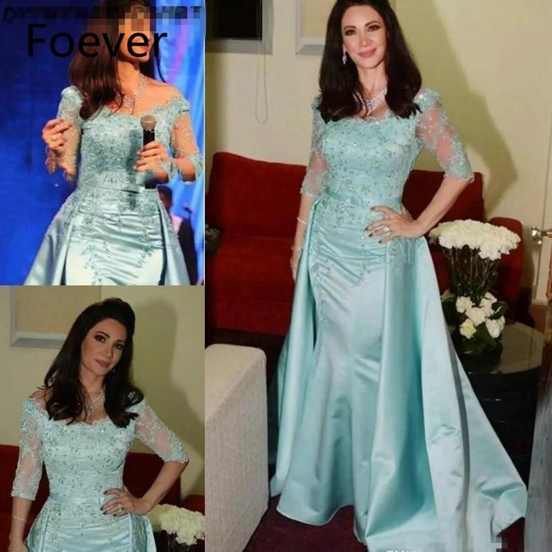 Simple Lace Long Sleeves   Evening     Dresses   Bateau Neck Ankle Length Mermaid Prom Gowns with Sash Vestidos de Novia