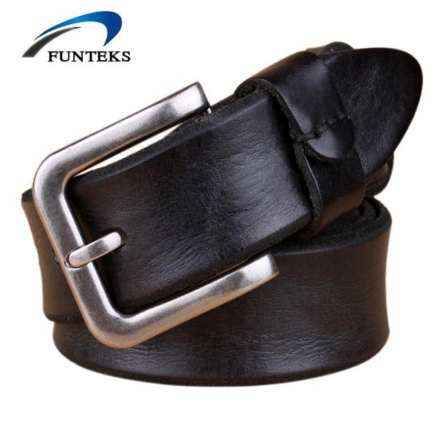 Funteks 2017 vintage correa de cuero de los hombres de alta calidad pin hebilla cinturones de cuero genuino para los hombres de la correa negro/marrón/café 105-130 cm