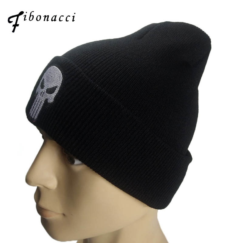 Fibonacci The Punisher Cool Black Skulls Winter Warm Beanie Men Skeleton Justiceiro Castigador Adult Teenagers Boy Knitted Hat generalization of fibonacci sequence