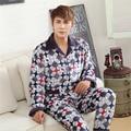 Homens de Colarinho Cardigan-Botão de Lapela Longo-de mangas compridas calças pijamas de Flanela Espessamento de Lazer ternos dos homens do serviço Para Casa