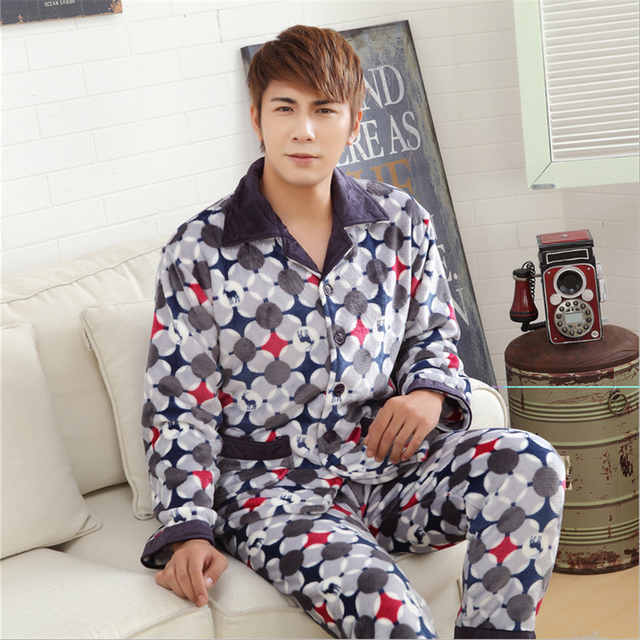 Men Cardigan Collar - Lapel Button Long-sleeved trousers pajamas Flannel Thickening Leisure men  Home service suits