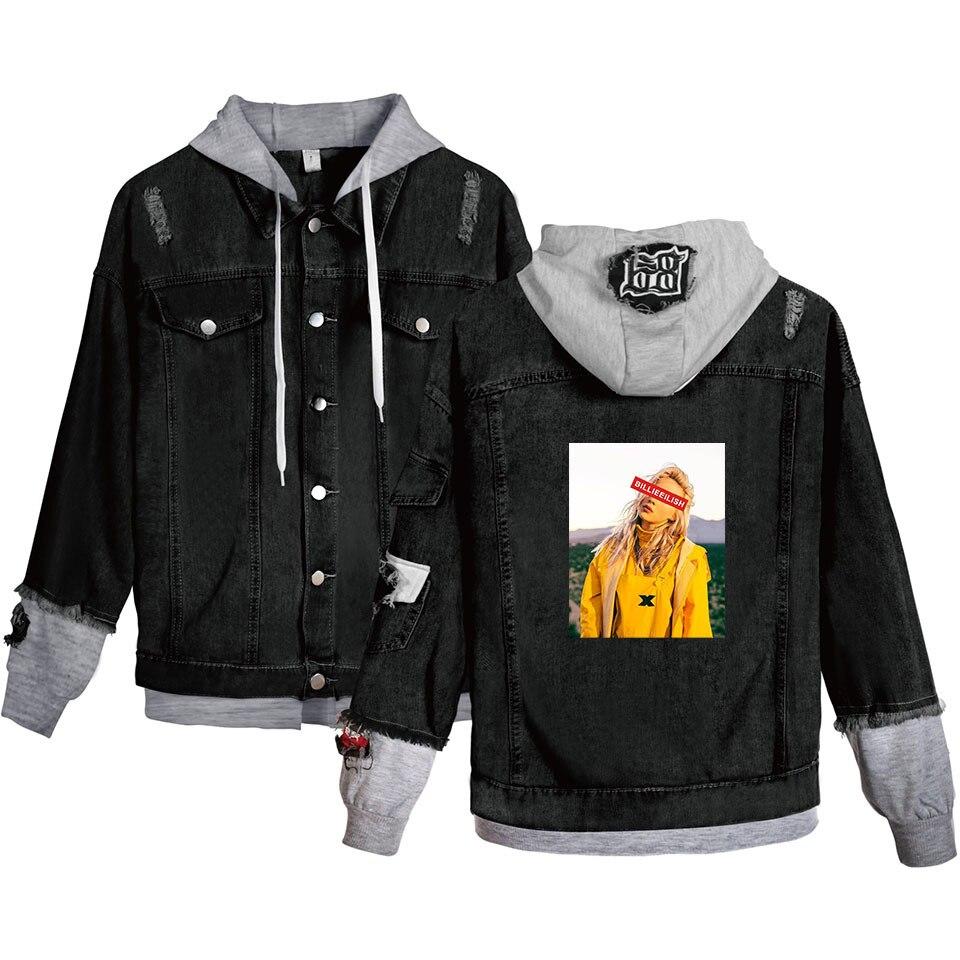 2019 nouveauté Billie Eilish Demin veste manteau Cool Hipster à capuche manteau Billie Eilish Art jean veste