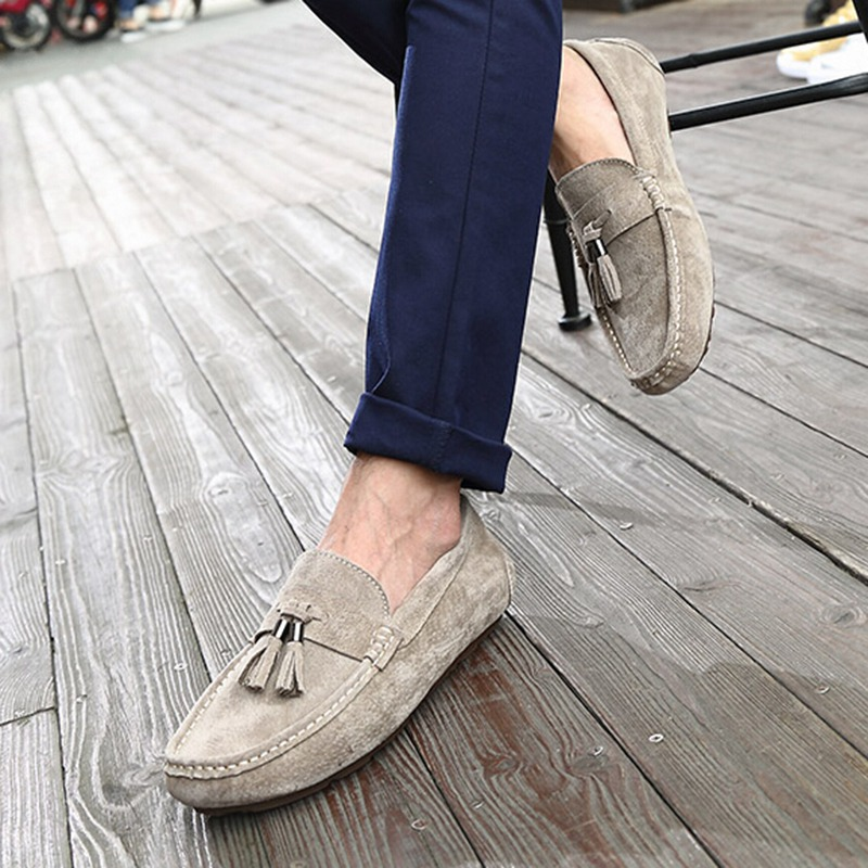 ФОТО New Arrival Casual Shoes Men Slip-On Loafers Comfortable Flat Shoes Male Moccasin Driving Shoes Asian Size 39-45