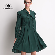 Runway Dress 2017 Spring Women Designer Luxury Ruffle Green Dresses With Bow