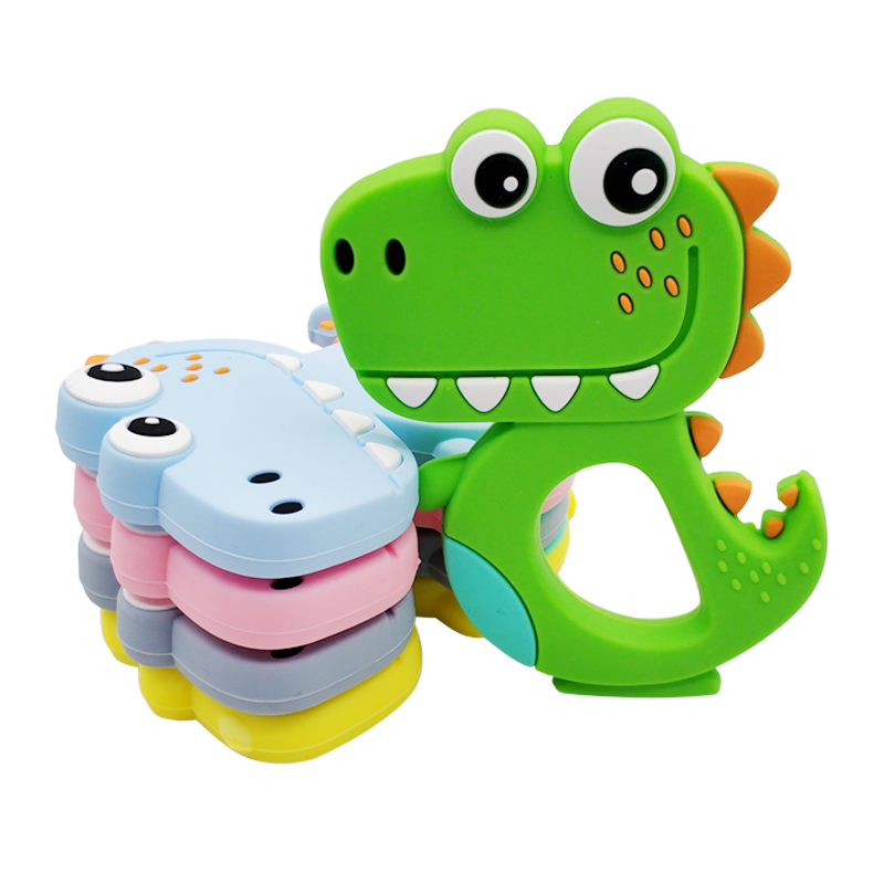 Perfect Baby Gift/  Baby Teething Toys Infants Dinosaur Teether Toy Safe Soothing Toy Gum Massager for Babies BPA Free FDA Certified Gray