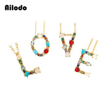 Ailodo Gold Color Initial CZ Necklace Personalized Letter Name Jewelry For Women Accessories Girlfriend Best Gift LD071