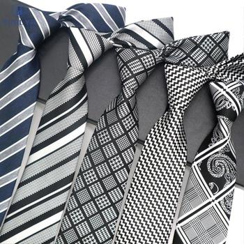 Luksusowe męskie krawat 8 CM czarny granatowy w paski jedwabny krawat żakardowe tkane krawaty dla mężczyzn formalne firm Wedding Party krawat