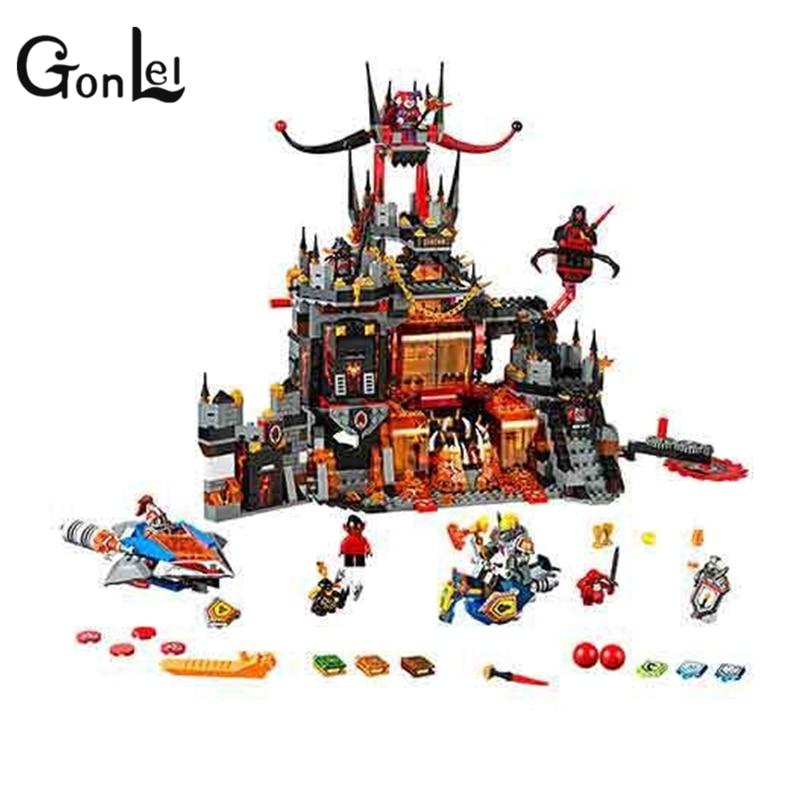 GonLeI 1237Pcs 10521 Nexus Knights Chevaliers Axl Jestros Volcano Lair Combinaison Marvel Model Building Block Compatible 70323