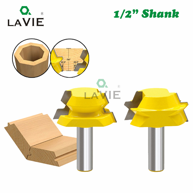 LA VIE 2pcs 1/2 Shank Lock Miter Tenon Router Bits 22.5 Degree Glue Joinery Milling Cutter Set Woodworking Tenon Cutter MC03114 2pcs 120 degree lock router bit woodworking 1 2 shank frame tenon stitching milling cutter tool groove chisel engraving machine
