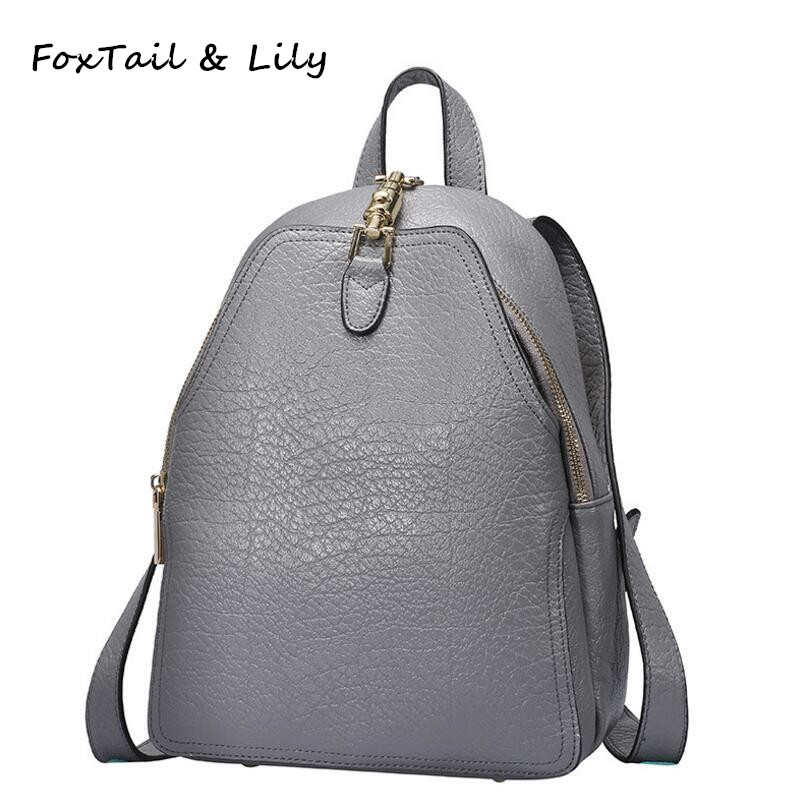 FoxTail & Lily Genuine Leather Backpack Women Casual Tote Bag Fashion School Bags for Girls Multifunctional Travel Backpacks namvitae genuine leather women backpack fashion design teenage girls school bags cow leather female backpacks casual travel bag