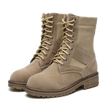 Top Suede Autumn Winter Ankle Boots For Women Lace-up Non-slip Palladium Flat Timber Boots Outdoor Snow Combat Military Boots