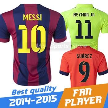 Top Thai quality New 2015 Soccer jersey MESSI NEYMAR JR A.INIESTA XAVI  SUAREZ I.RAKITIC 14 15 Football Shirt Camisetas de futbol fe227974a