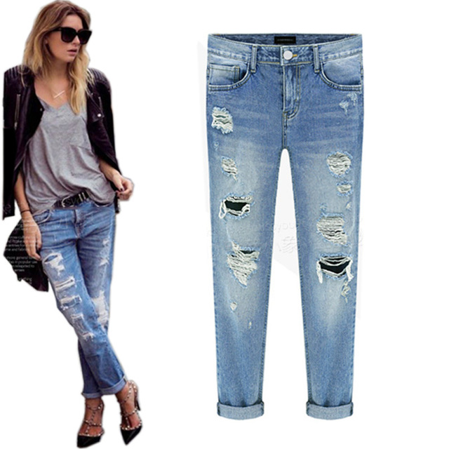 Aliexpress.com : Buy Vintage retrol 2016 torn ripped jeans for ...