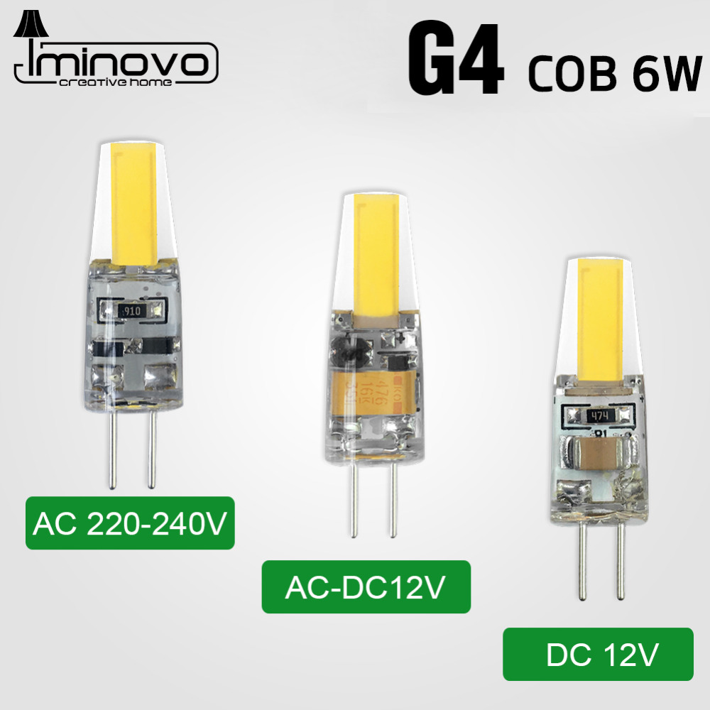 IMINOVO G4 COB Light Bulb LED Lamp AC 12V AC 220V DC 12V 6W Dimmable SMD1505 Replace Halogen Lamps Chandelier Lights msled l04 g4 4w 130lm 6500k 5 smd 3030 led white light spot beam bulb ac dc 12v