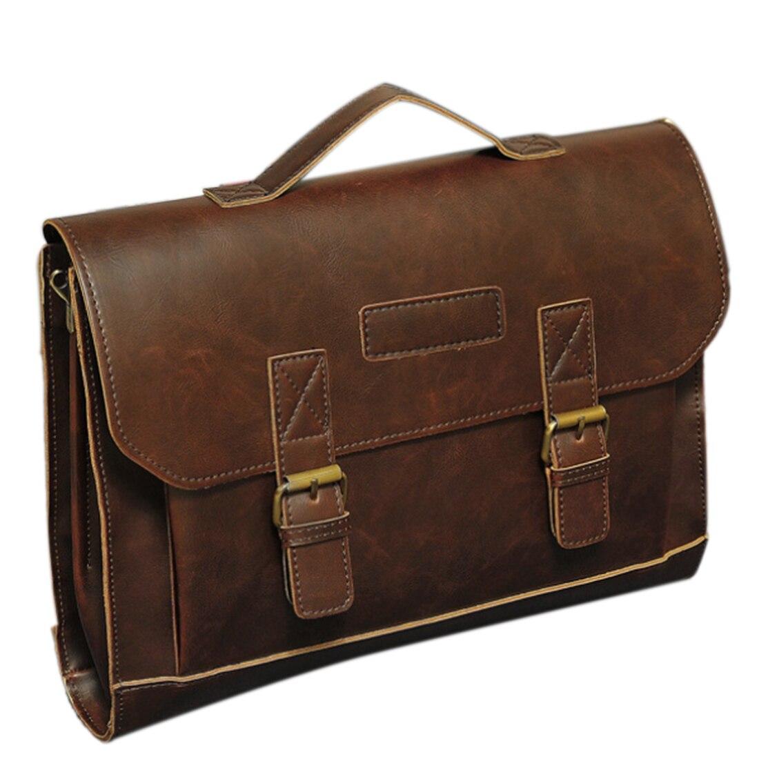 цены Brand New Men'S Briefcases Classic Style With PU Leather Single Shoulder Bag Business Portfolio Messenger Bag For Men Male Hot