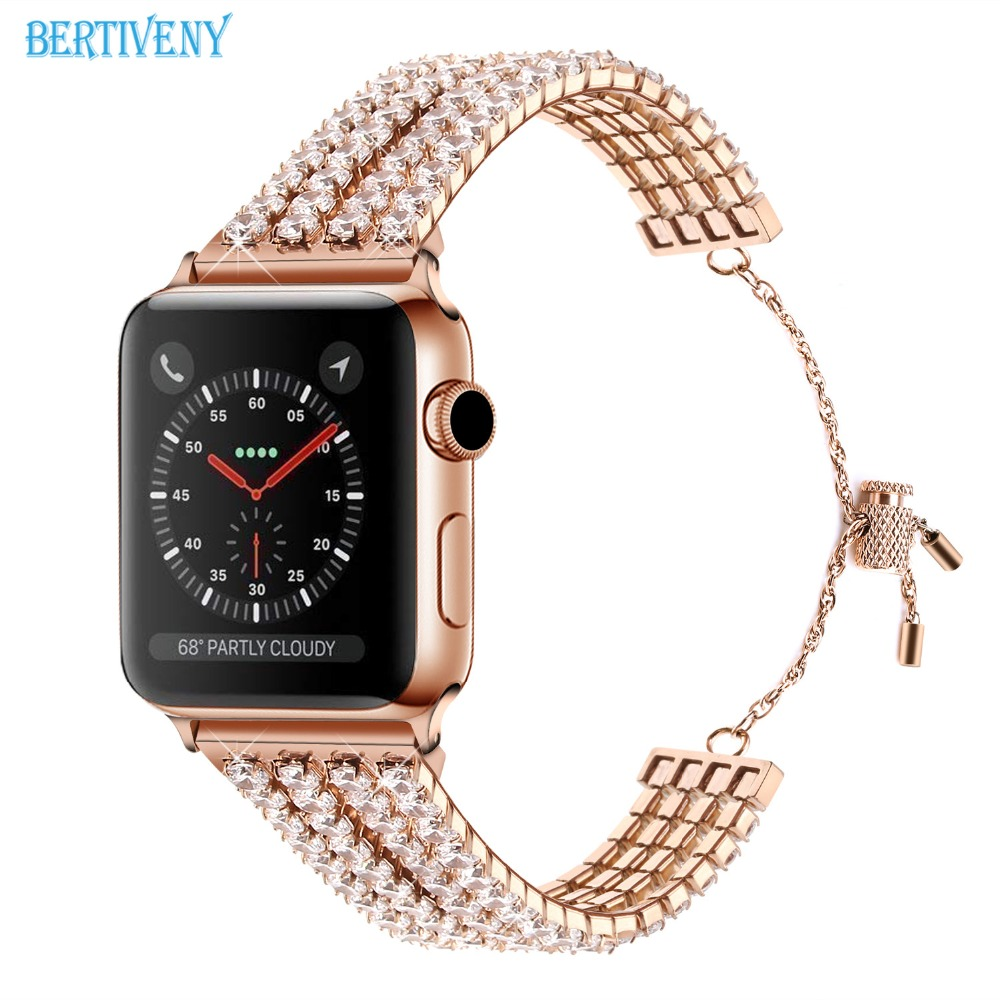 Woman Diamond Bracelet for Apple Watch band 38mm 40mm 42mm 44mm Luxury Lady Party Jewelry Wrist Strap for iwatch series 4 3 2 1 in Watchbands from Watches