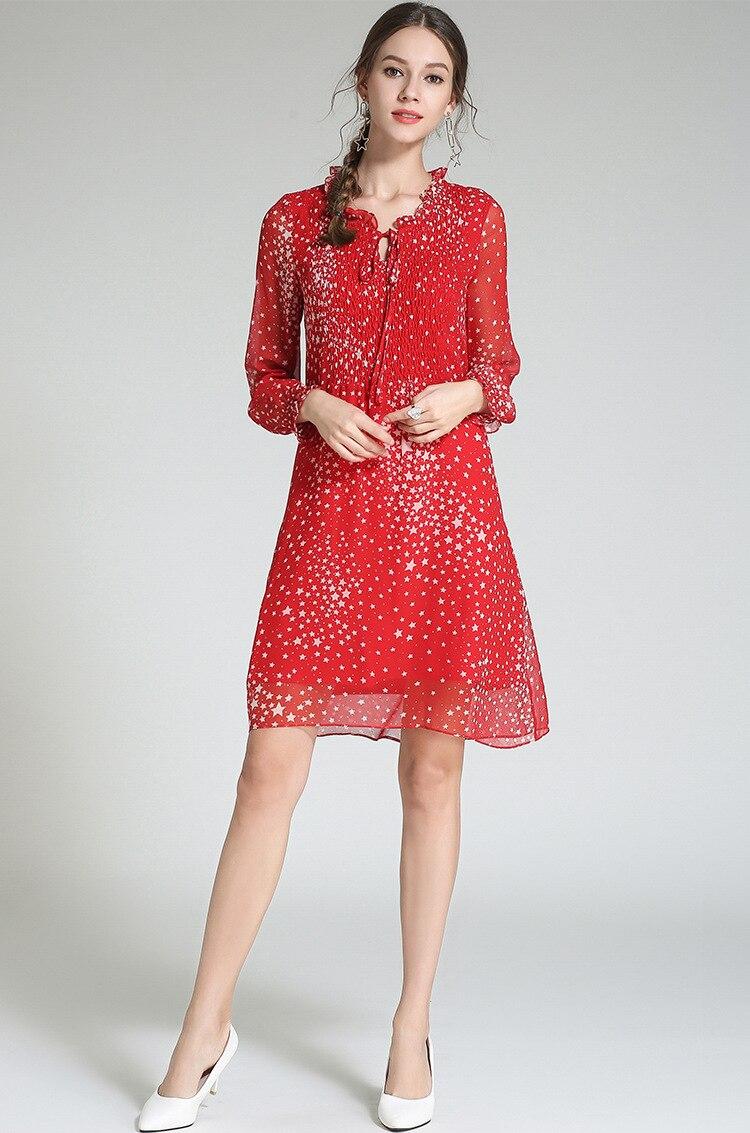 Casual Robes xxxxxl5xl 2018 Mousseline A De Mode Élégante Roupas Imprimé ligne En Dames Rouge Automne Robe Hérissé Plus Taille M Soie aHqaBxpZn