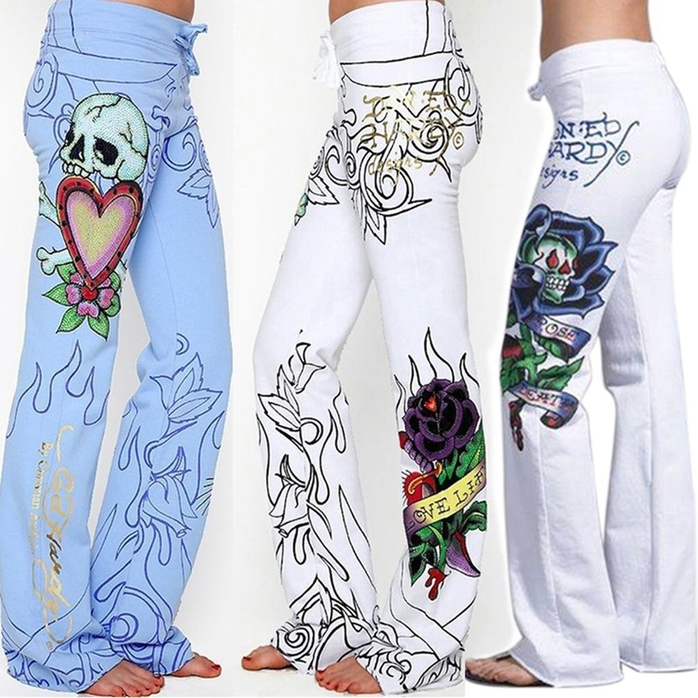 Long Pants Hippie Wide Leg Boho Blue White Trousers Flower Fashion Women Baggy Skull Rose High