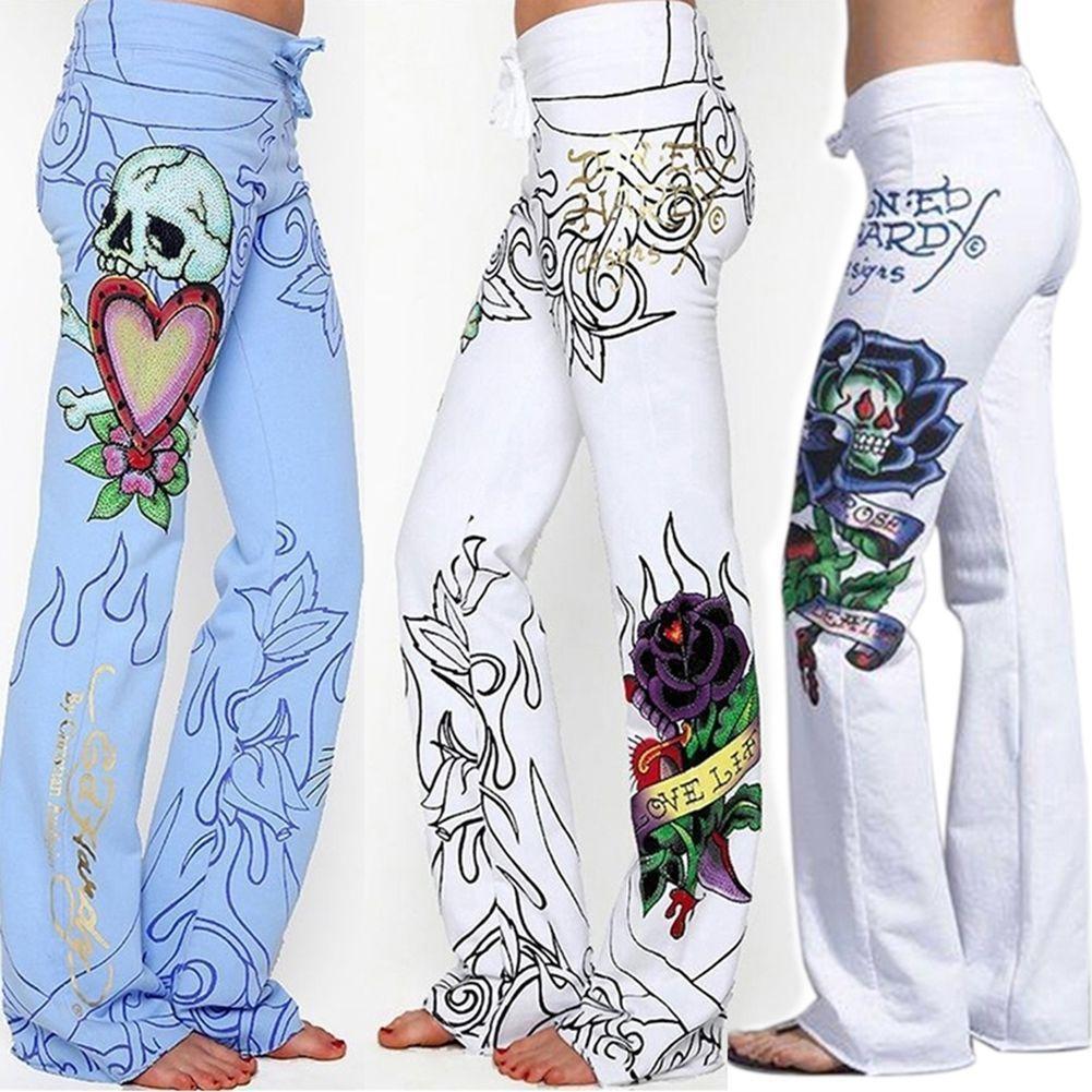 Pantalones largos Hippie pierna ancha Boho azul blanco pantalones flor moda mujer holgada calavera Rosa alta cintura impresa
