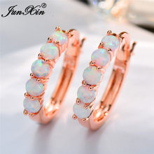 Boho Female Big Round Circle Hoop Earrings Fashion White Blue Opal Earrings For Women Bride Cute Rose Gold Earrings Jewelry(China)