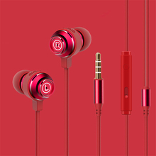 Fashion Metal headset in-ear 3.5mm Microphone 1.2m and 2m HiFi heavy bass Cut off the noise mini earbud auricular Computer phone
