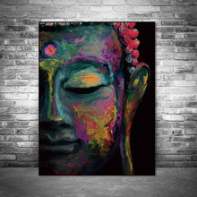 Canvas Painting Wall Art Pictures prints vivid Buddha face on canvas no frame home decor Wall poster decoration for living room(China)