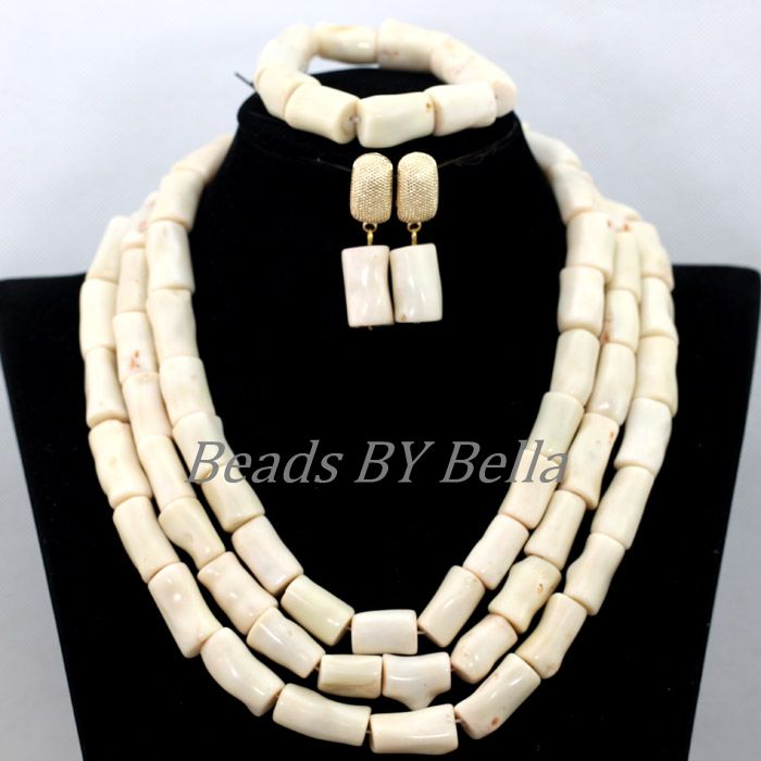 2017 New Design Nigerian Wedding Coral Beads Set Statement Necklace White African Beads Bridal Jewelry Sets Free Shipping ABK290