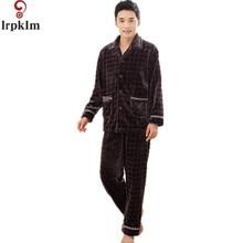 Pijama Hombre зимняя теплая хлопковая стеганая Мужская Пижамные комплекты пижамы мужской Flannel sleep set коралловый флис Lounge SY710