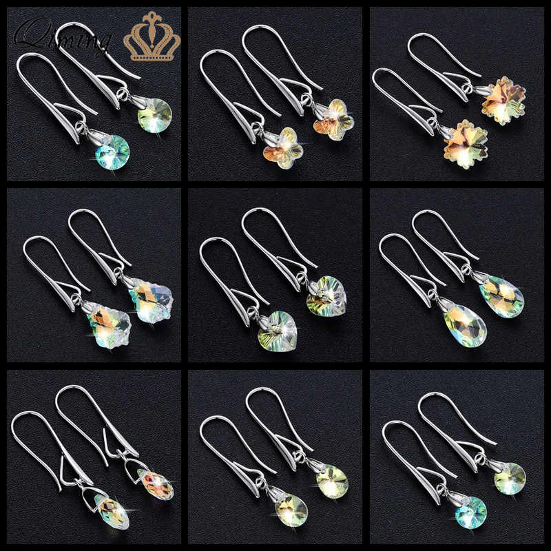 2019 New Colorful Crystal Women's Earrings Ladies Bride Heart Silver Statement Jewelry Long Drop Dangle Earrings Party Gift