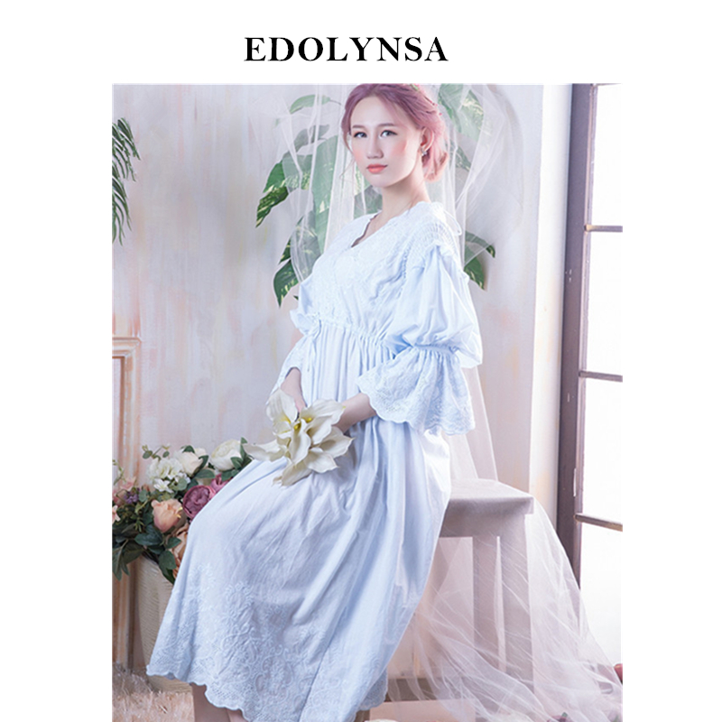 Nightgowns Sleepshirts 2019 Lace Sleep Lounge Nightdress Night Wear Solid Sleepwear Home Dress Cute Nightgown Female