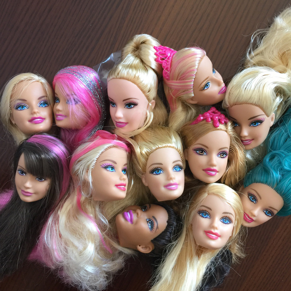 5 pcs/lot Heads For Barbie Dolls DIY Birthday Items Combine-Model Dolls Heads